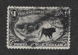 292 Used,  $1 Trans-Mississippi, XF, Cattle In the Storm Free Insured Shipping