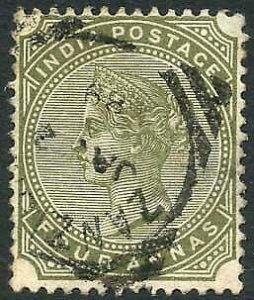 Zanzibar SGZ69 4a Olive-green Z5 Squared Circle dated 2nd Jan 1889 (thin)