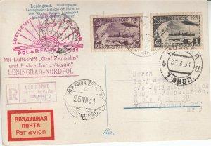 Card Zeppelin 1931 Airship Russia Leningrad North Pole Sieger Polarfahrt USSR 6