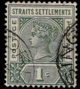 Straits Settlements Scott 83 Used surcharged stamp
