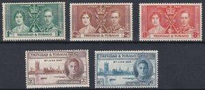 TRINIDAD  1937 - 46  CORONATION & VICTORY  SET  MH
