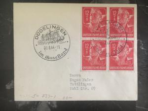 1944 Dudelingen Germany Cover  to Tuttlingen # B282 block of 4