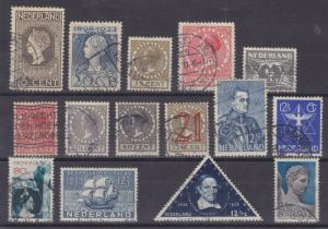 Netherlands Sc 93/208 used. 1913-1937 issues, 15 diff better singles, F-VF
