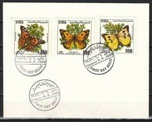 Syria, Scott cat. 1175-1177. Butterflies issue. First day cover. ^