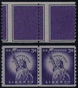 TD95 Test / Dummy Misperf Small Hole Pair & 1057d Statue of Liberty Pair Mint NH