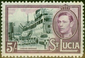 St Lucia 1938 5s Black & Mauve SG137 Fine Mtd Mint