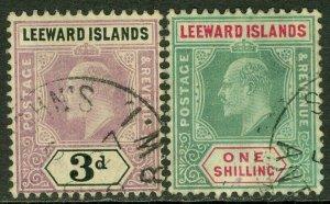 EDW1949SELL : LEEWARD ISLANDS 1905-08 Scott #33, 37 VF Used Both Choice Cat $215