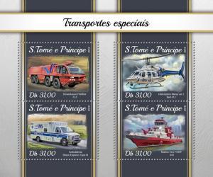 SAO TOME - 2018 - Special Transport - Perf 4v Sheet - MNH