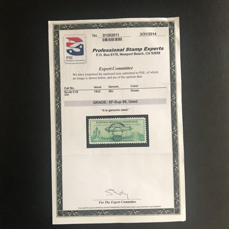 Scott #C18  Airmail  50c Green  Used SOTN Target Cancel XF- Sup Graded 95