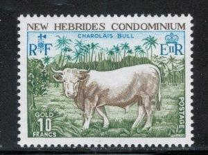 British New Hebrides 1975 Charlais Bull 10fr Scott # 196 MNH
