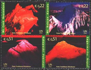 UN Vienna. 2002. 363-66. The mountains. MNH.