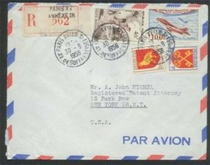 FRANCE 19525 registered airmail cover Paris to USA.........................81511