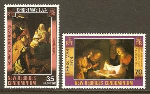 New Hebrides, British #194-5 NH Christmas 1974