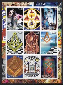 Tajikistan  2000 MASONIC LODGE Sheetlet (9) IMPERFORATED  MNH