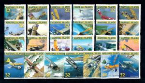 [57025] Marshall Islands 1996 Fighter jets Aircrafts 25 Values MNH