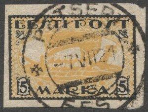 ESTONIA 1919 Sc 35 5mk Used VF Viking Ship, PETSERI Cancel