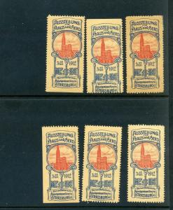 6 VINTAGE 1912 HOUSE AND STOVE EXPO  POSTER STAMPS (L789) STRASSBURG GERMANY