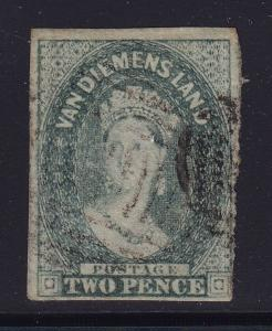 Tasmania SG # 34 F-VF slate green used neat cancel with nice color ! see pic !