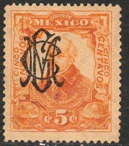 MEXICO 459 5¢ VILLA MONOGRAM REVOLUTIONARY OVPERPRINT. UNUSED, NO GUM. VF.