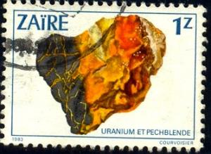 Mineral, Uraninite, Zaire stamp SC#1105 Used