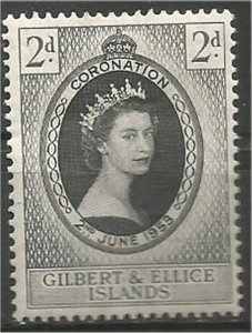 GILBERT AND ELLICE ISLANDS,1953, MH, 2p, Coronation Scott 60