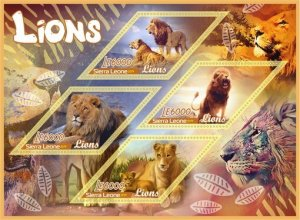 Stamps.Fauna Lions Set 2 sheet perforated
