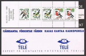 Finland 856a booklet,MNH.Michel 1139-1141 MH 28.Birds 1991.Great tit,Chaffinches