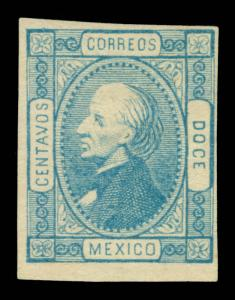 MEXICO 1872  Hidalgo 12c blue - St.Louis Forgery Transfer Type 4 (Sc# 94)