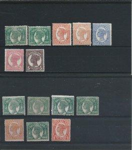 Queensland 1895-96 values to 5d (7), ½d x 5, 1d plus 1896-1902 1d all MM