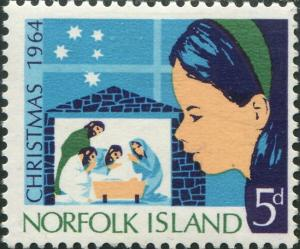 Norfolk Island 1964 SG57 5d Christmas nativity MLH