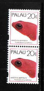 Palau-Sc#366a-Unused NH booklet pair-Magenta Dottyback-Fish-1995-