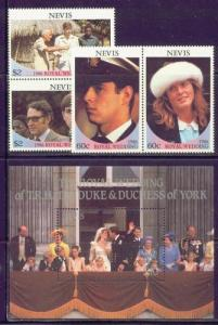 Nevis MNH S/S & Set 498-500 Royal Wedding Andrew & Sarah SCV 5.90