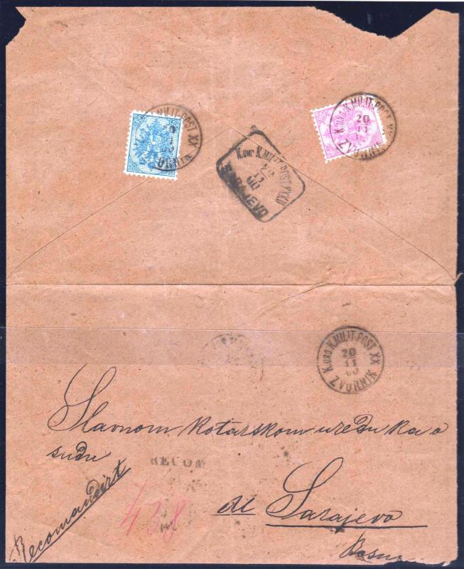 AUSTRIA BOSNIA  1900. registered letter from ZVORNIK to SARAJEVO