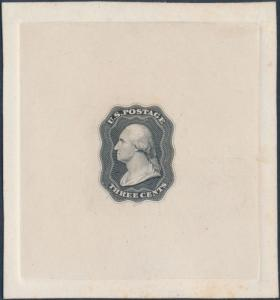 #11-E13a 3¢ 1851 DIE ESSAY ON INDIA ON FULL SIZE CARD SUPERB (BLACK) WL400