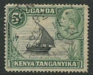 Kenya & Uganda - Scott 47a- KGV Definitive -1935 - FU -Type II - Single 5c Stamp
