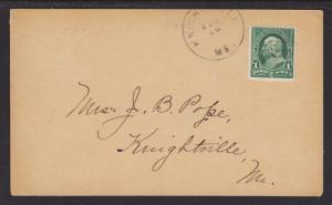US Sc 279 on 1898 Post Card, Knightsville, ME DPO
