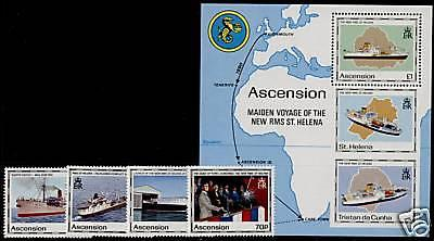 Ascension Island 493-7 MNH - Ships, Map
