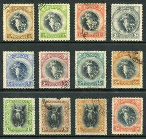 Barbados SG201/12 1920 Set of 12 2/- Fault Fine used