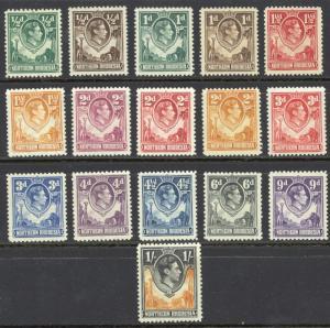Northern Rhodesia Sc# 25-40 MH Set/16 1938-1952 ½p-1sh KGVI Definitives
