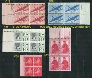 US Scott #C28, C30, C38, C57, FA1  PB/4  Airmail  MINT OGNH Stock Photo