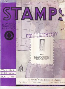 Stamps Weekly Magazine of Philately November 4, 1933 Stamp Collecting Magazine