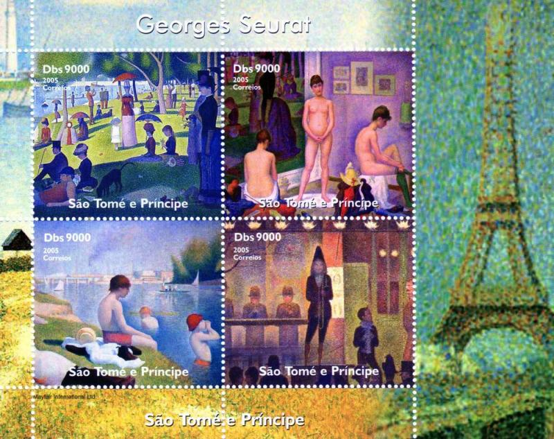 St.Thomas & Principe Georges Seurat Paintings Shlt (4) MNH