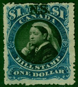 CANADA NOVA SCOTIA 1868 QV $1.00 BILL STAMP REVENUE Rough P. 12 1/2 USED