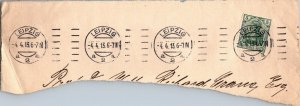 Germania 5pfg stamp on paper 1913 multiple cancels Leipzig Germany