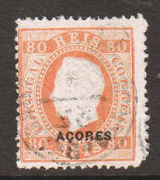 Azores Sc 53a used 1882 80r King Luiz, scarce perf 12½