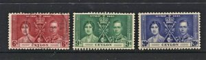 STAMP STATION PERTH Ceylon #275-277 KGVI Coronation Mint /Used CV$9.00