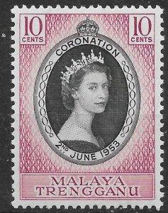 MALAYA TRENGGANU SG88 1953 CORONATION MTD MINT