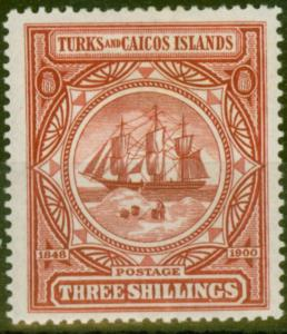 Turks & Caicos Is 1900 3s Lake SG109 Fine Lightly Mtd Mint