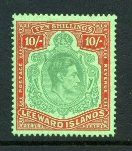 Leeward Islands 1938 KGVI 10/- ordinary paper mint