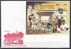 Cuba, Scott cat. 4445. First Baseball Game s/sheet. First day cover. ^